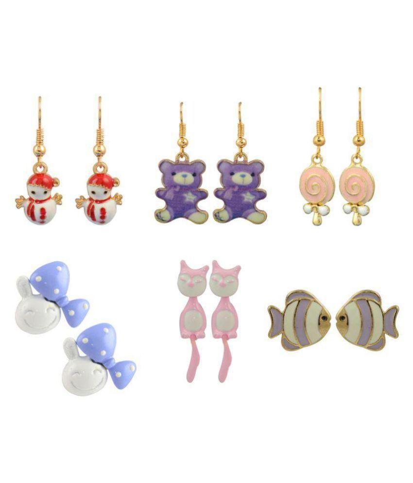 Glitters Multi Colour Enamel Earrings for Kids and Girls - Combo Pack of 6
