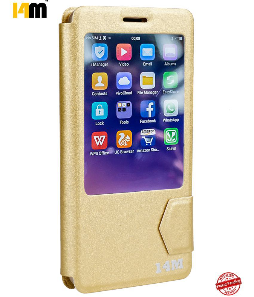 Samsung Galaxy On8 Flip Cover by 14M - Golden