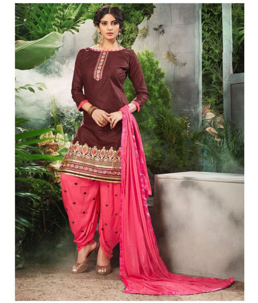 SareeShop Designer SareeS Brown and Red Cotton Dress Material