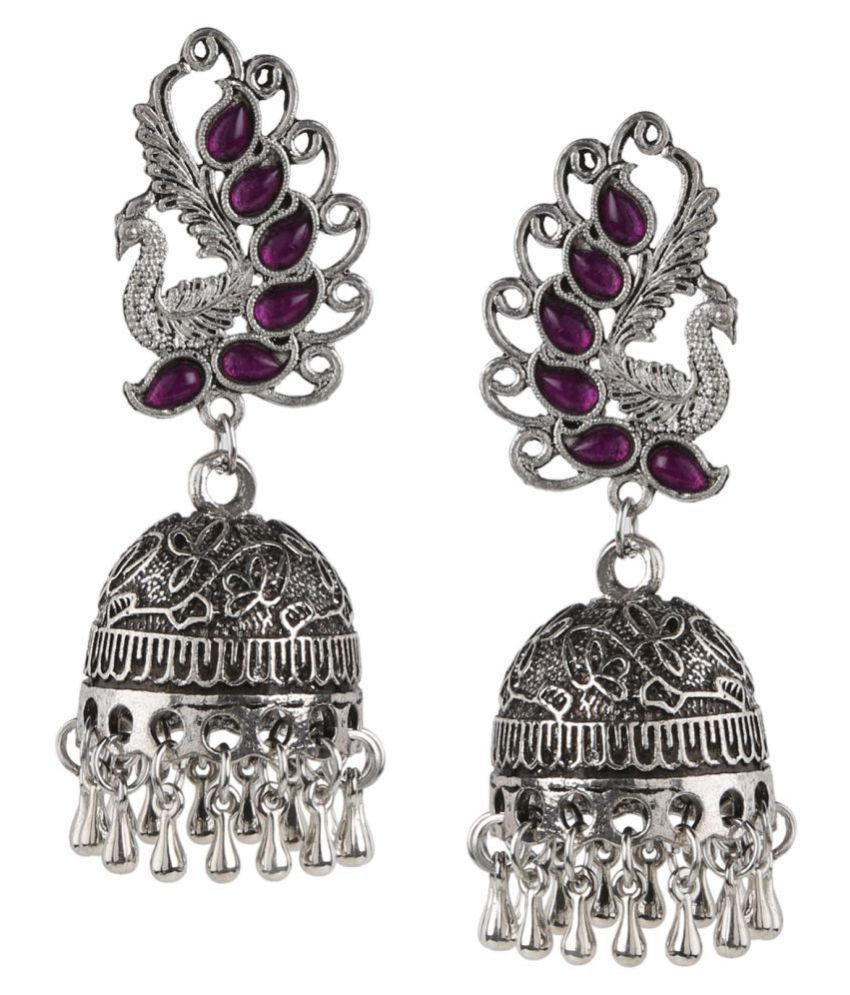 Archi Collection Oxidised German Silver Plated Fancy Party Wear Peacock Jhumka with Metal Drop Earring for Girls and Women