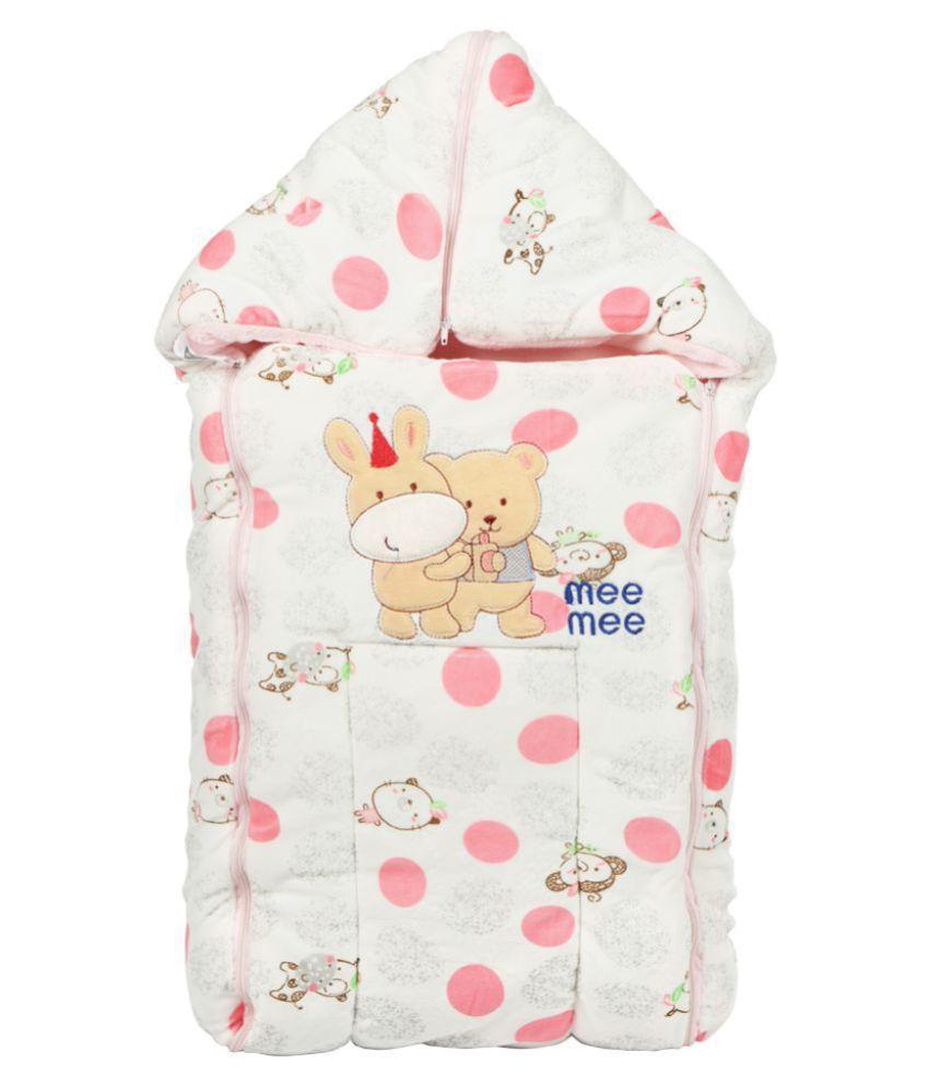Mee Mee Pink Cotton Baby Wrap cum blanket ( 41 cm × 2 cm - 1 pcs)