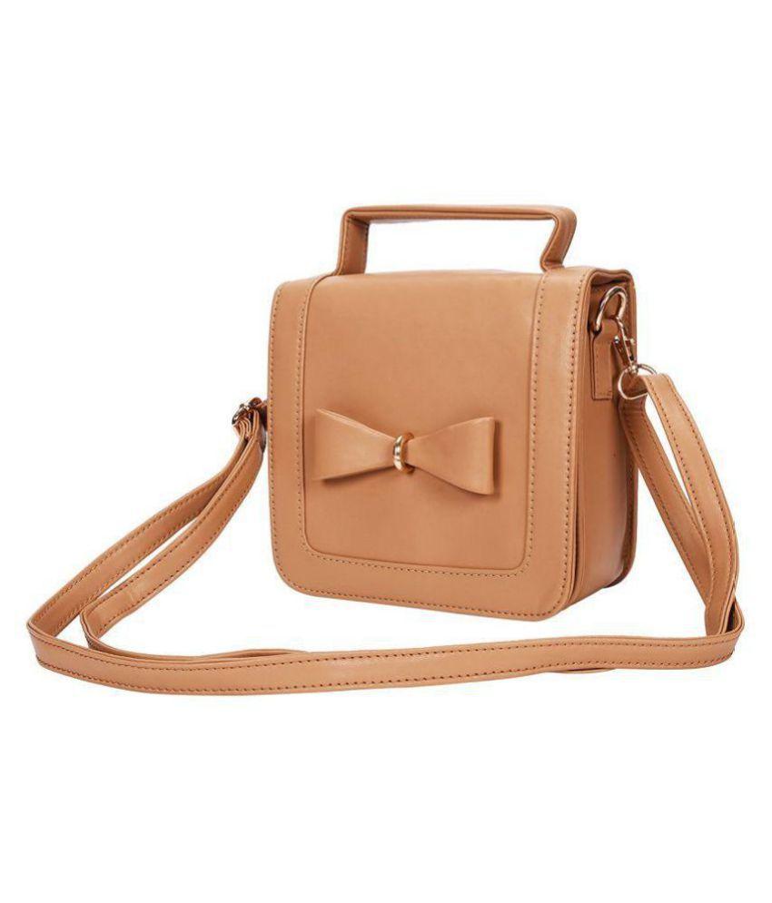 Yark Tan Faux Leather Sling Bag