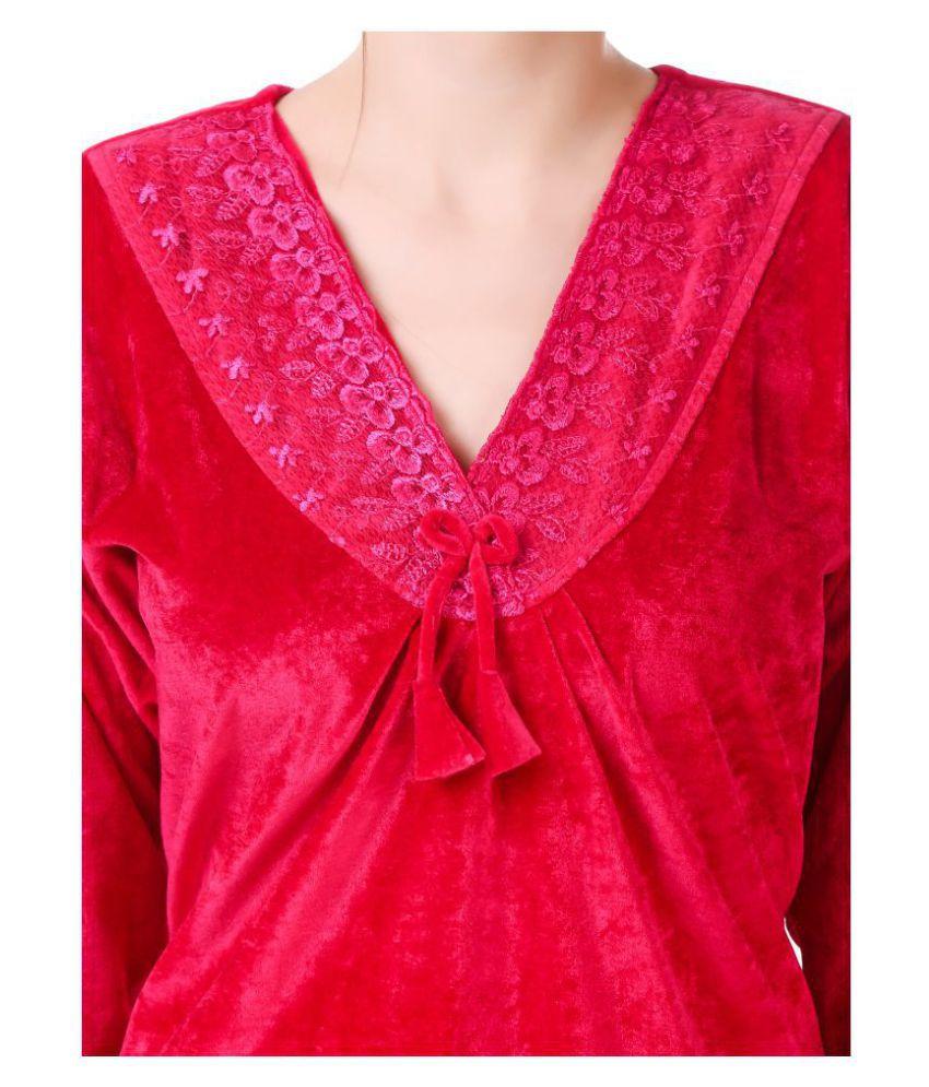 Buy Masha Velvet Nighty   Night Gowns - Pink Online at Best Prices ... bdda213cb