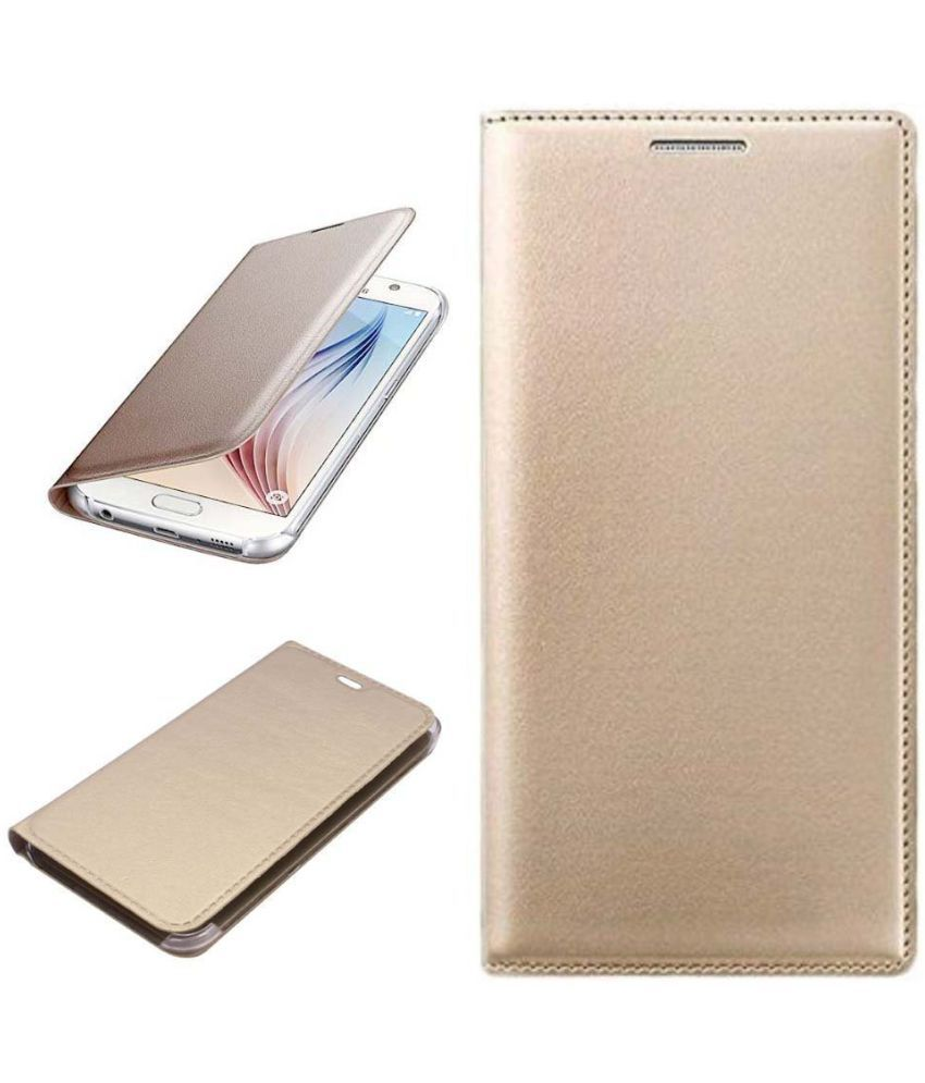 Micromax Vdeo 1 Q4001 Flip Cover by Shanice - Golden Leather Flip Cover