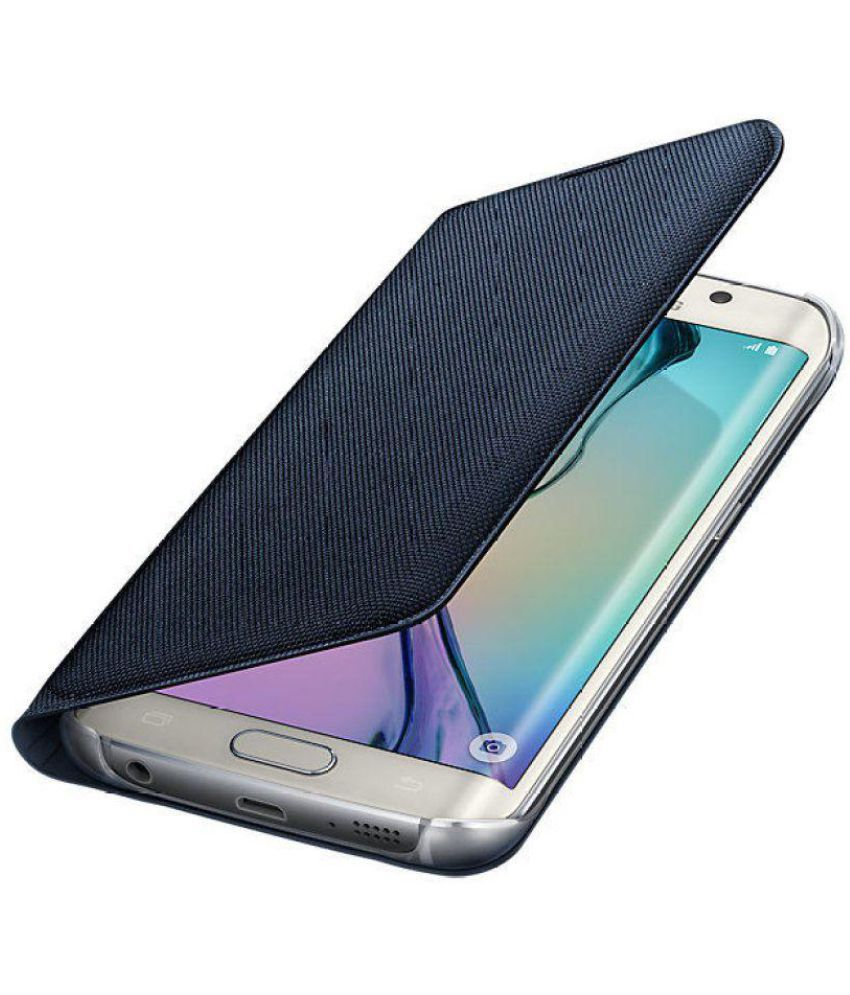 2bd7a23c93 Samsung Galaxy S6 Edge Flip Cover by Samsung - Black EF-WG925BBEGIN Fabric Flip  wallet - Flip Covers Online at Low Prices | Snapdeal India
