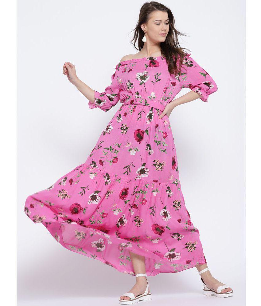 d009175a7c Sera Rayon Pink A- line Dress - Buy Sera Rayon Pink A- line Dress Online at Best  Prices in India on Snapdeal