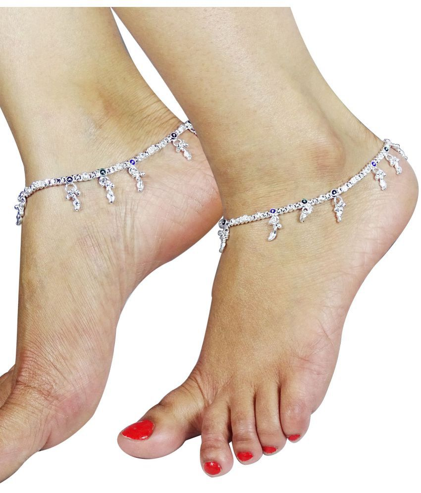 Fluck Alloy Silver Plated Pair Of Anklets (Silver)