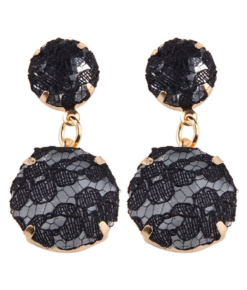 Levaso Fashion Jewelry Womens Earrings Ear Studs Alloy Floral Flower 1Pair Personality Gifts Black