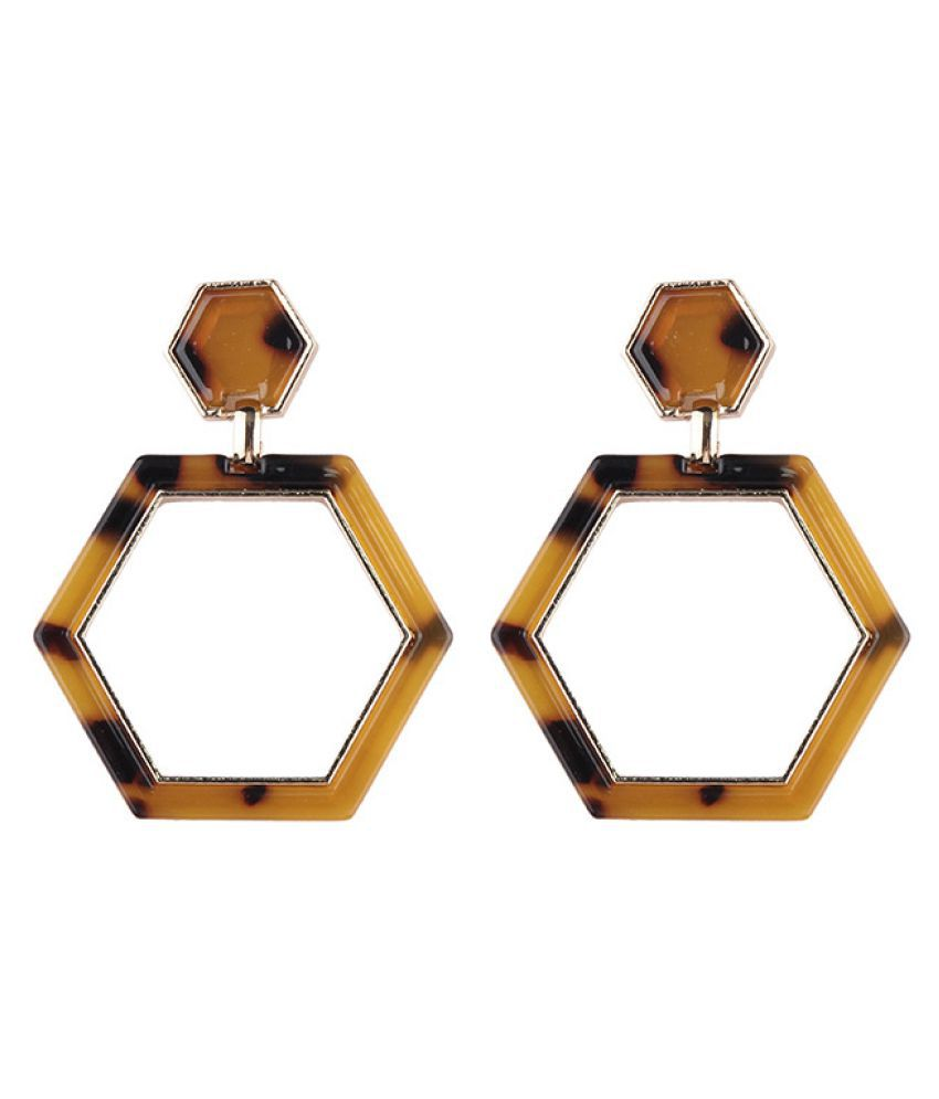 Levaso Fashion Jewelry Womens Earrings Ear Studs Alloy Geometric 1Pair Personality Gifts Brown