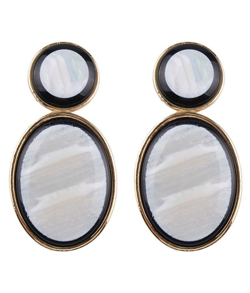 Levaso Fashion Jewelry Womens Earrings Ear Studs Glass 1Pair Personality Gifts White