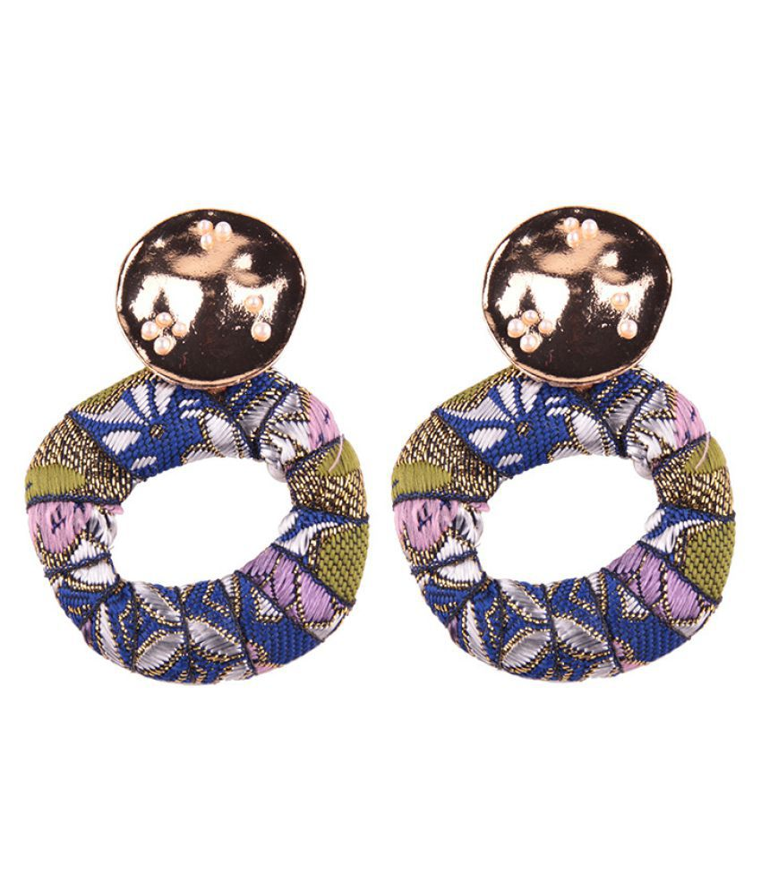 Levaso Fashion Jewelry Womens Earrings Ear Studs Fabric Floral Flower 1Pair Personality Gifts Multi Color