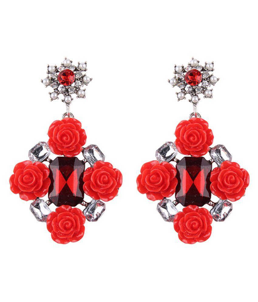 Levaso Fashion Jewelry Womens Earrings Ear Studs Necklace Pendant Alloy Floral Flower 1Set Personality Gifts Red