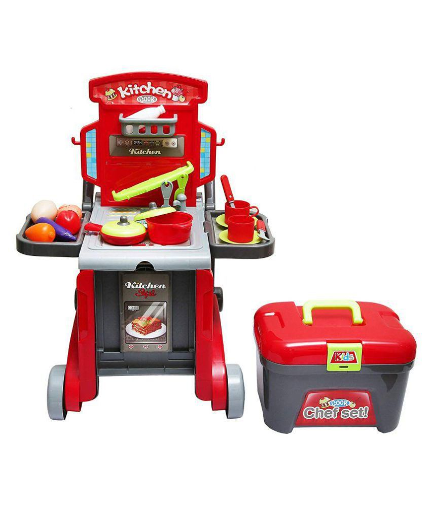crazy toys 3 in 1 Little Chef Kids Kitchen Play Set with Light & Sound  Cooking Kitchen Set Play Toy (Red)