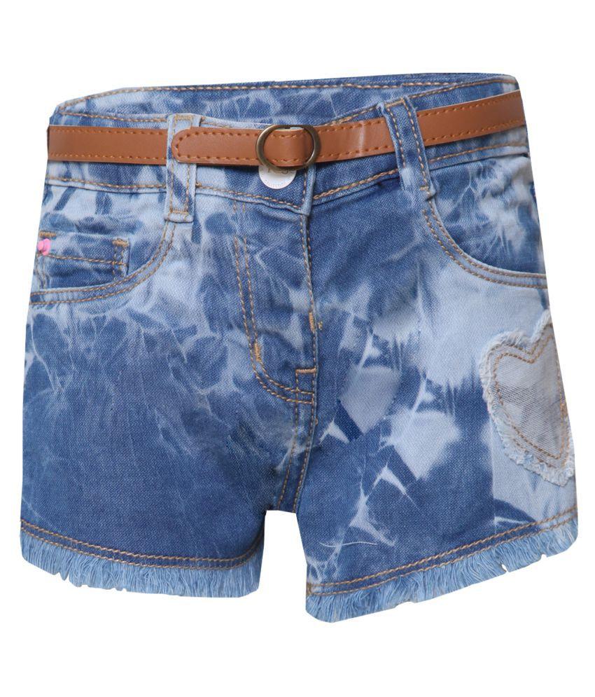 Tales & Stories Blue Denim Regular Fit Shorts for Baby Girls