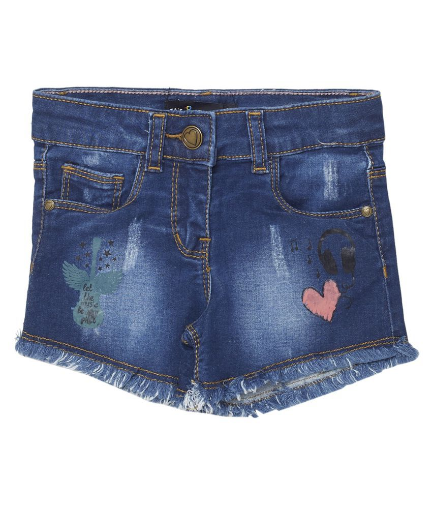 Tales & Stories Dark Blue Solid Cotton Casual Shorts for Girls