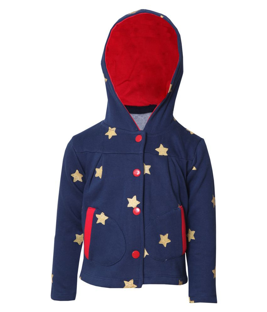Tales & Stories Navy Blue Cotton Printed Hooded Sweatshirt for Girls