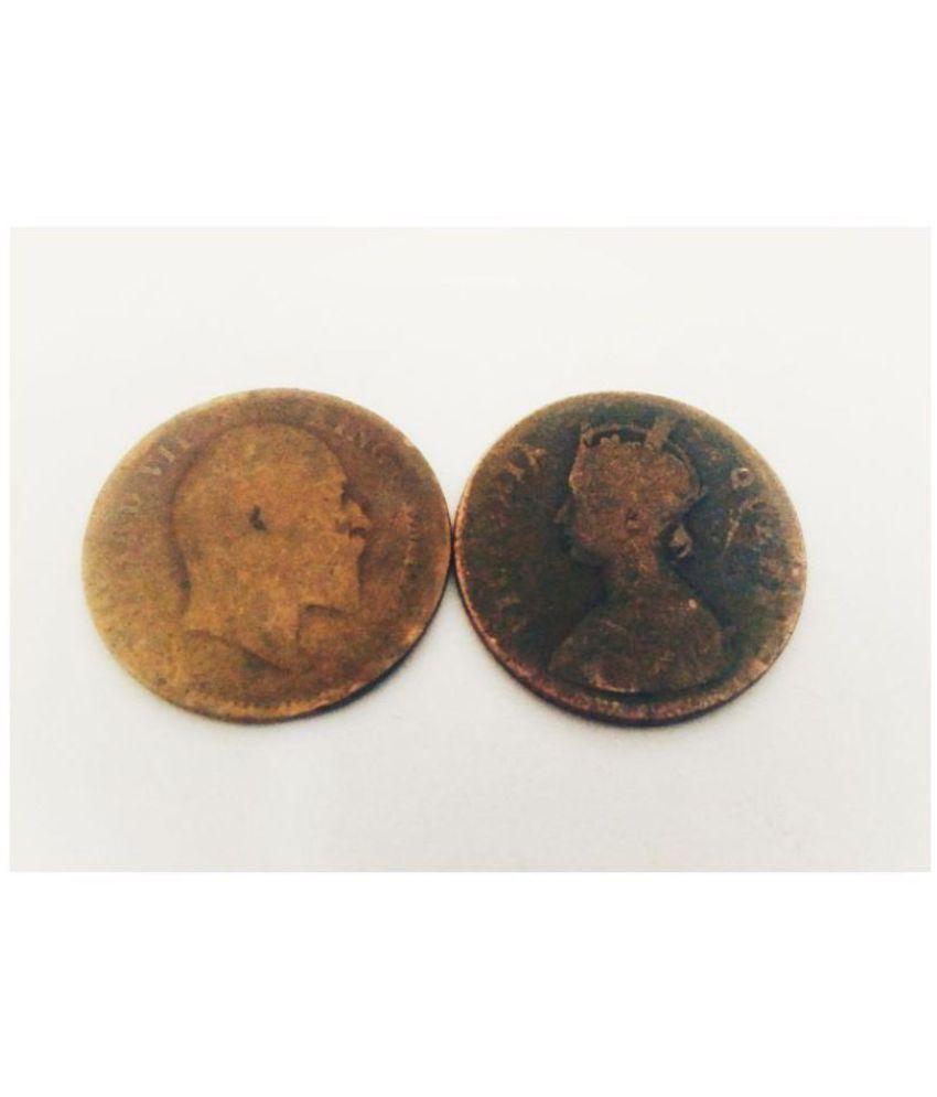 BRITISH INDIA EDWARD VII KING EMPEROR & QUEEN VICTORIA COPPER VERY OLD RARE  COINS SET