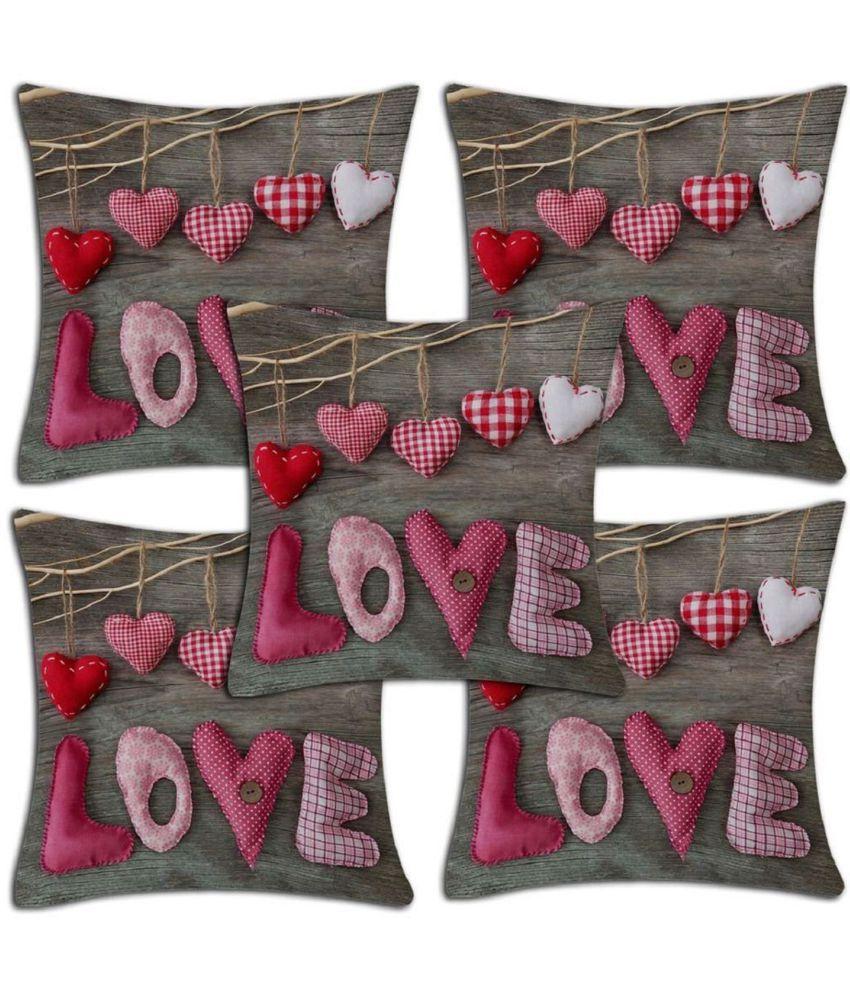 Nimkos Set of 5 Jute Cushion Covers 40X40 cm (16X16)
