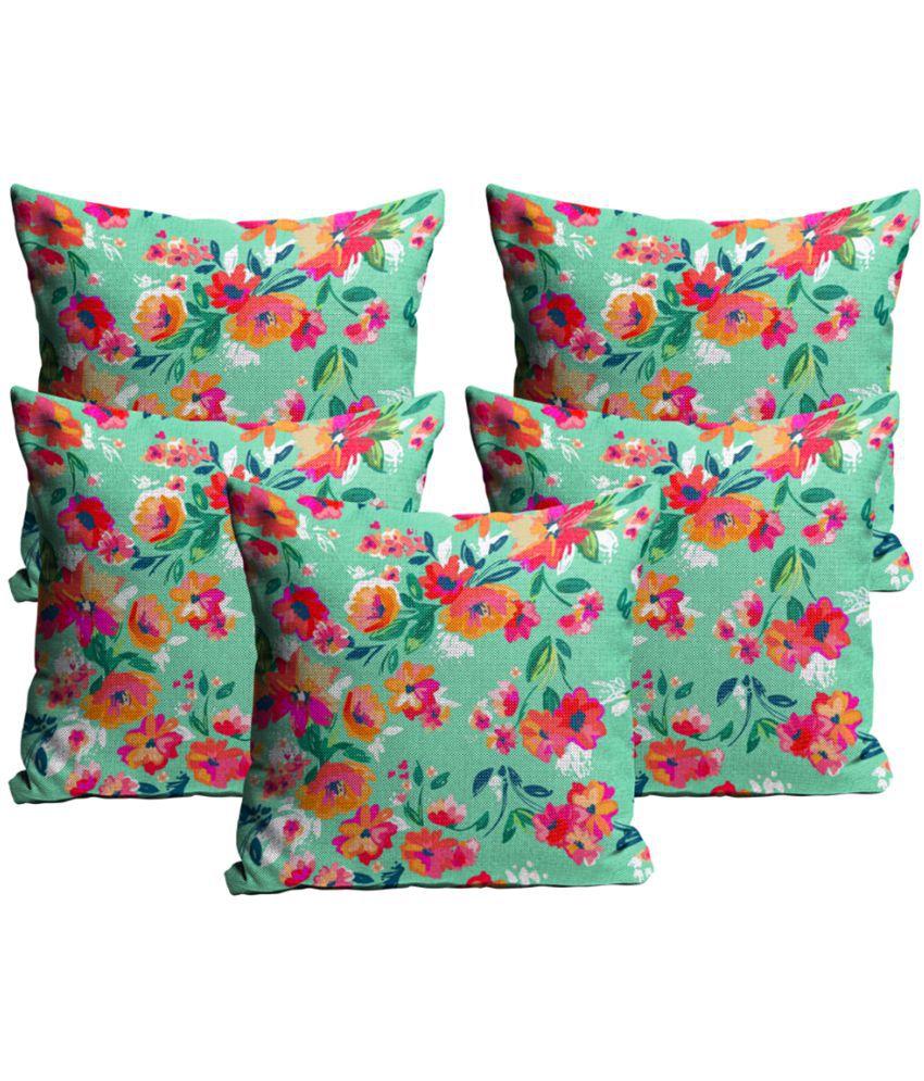 Mukesh Handicrafts Set of 5 Jute Cushion Covers 40X40 cm (16X16)