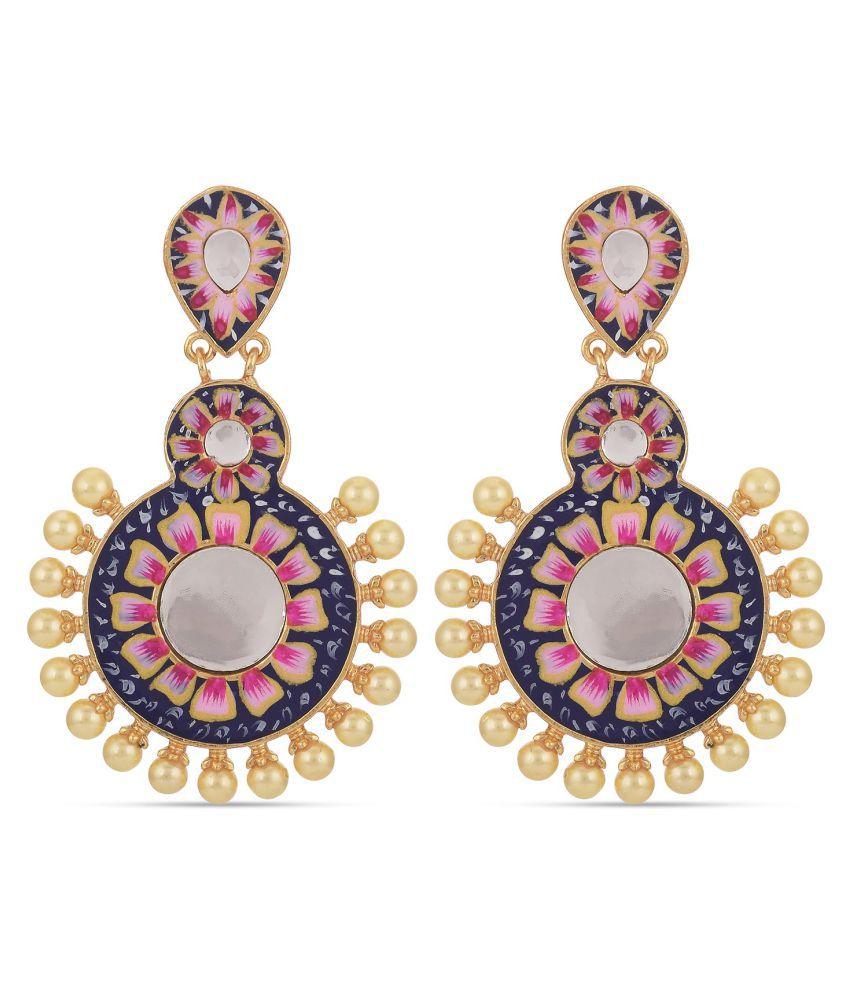 Tistabene Floral Blue Pink Meenkari Dangler Earrings   Gold Plated With Pearls Dangler Earrings   Latest Designer Stylish Party Wear Dangler Earrings for Girls And Women (ER-4107)