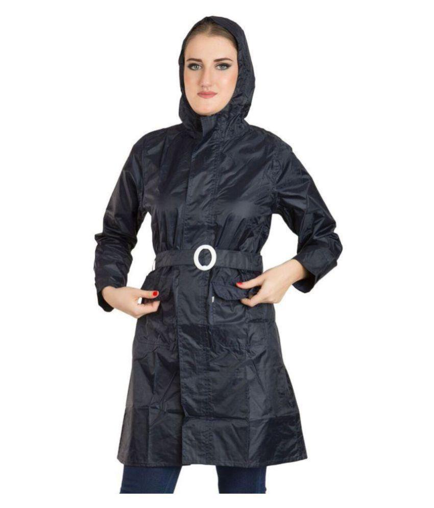 Burdy Polyester Long Raincoat - Black