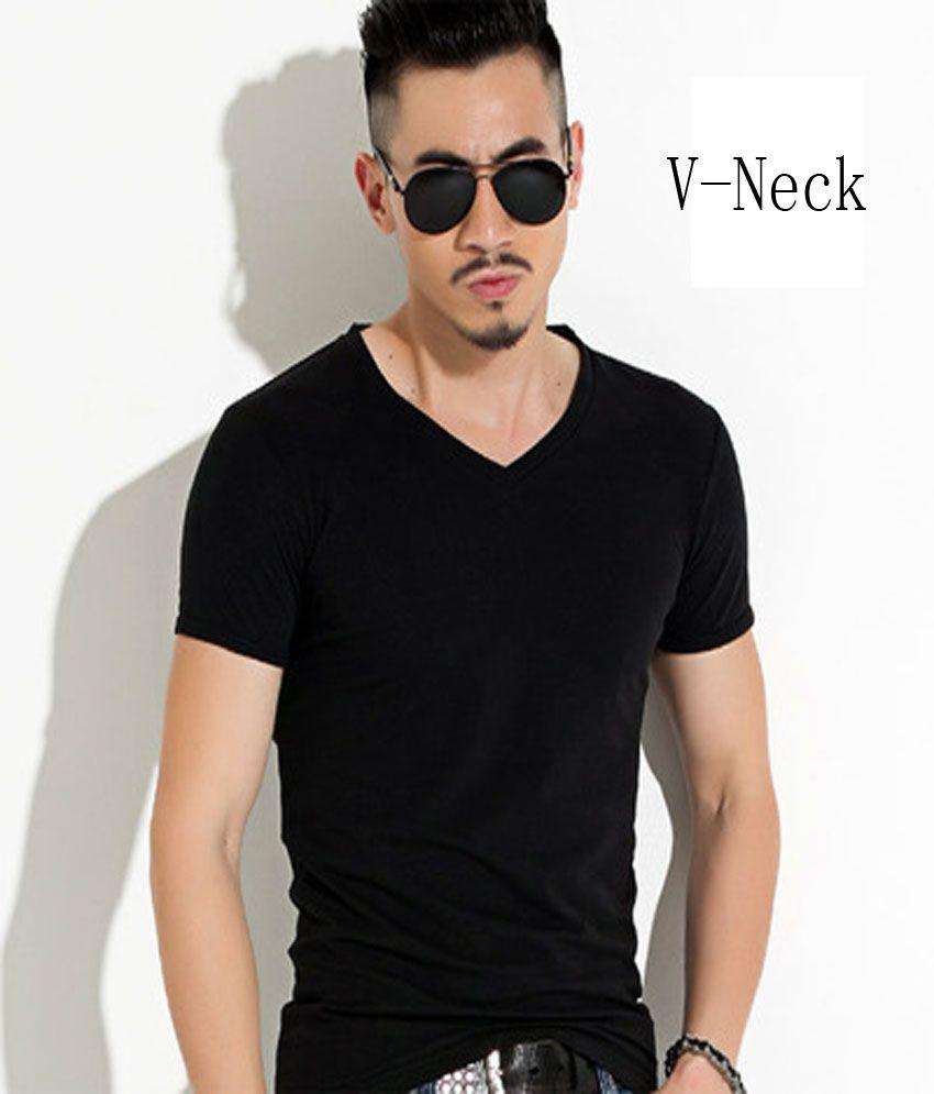 Levaso Black Half Sleeve T-Shirt Pack of 1