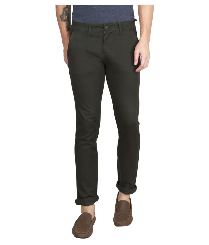 Raa Jeans Green Slim -Fit Flat Chinos