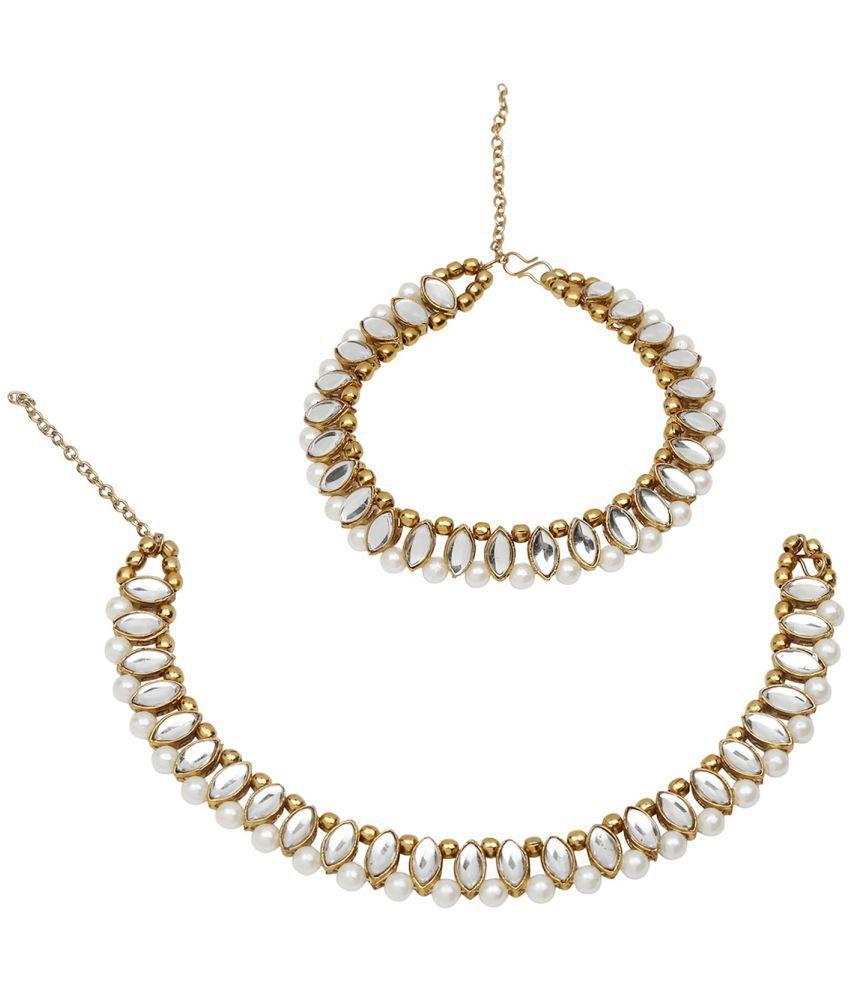 Efulgenz Fashion Stylish Traditional Gold Plated Kundan Pearl Wedding Wear Anklets Payal Jewellery