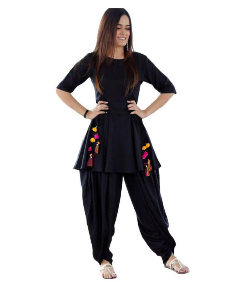 345a0ae0af Krishna Tex Black Rayon Dhoti style Kurti - Buy Krishna Tex Black Rayon  Dhoti style Kurti Online at Best Prices in India on Snapdeal