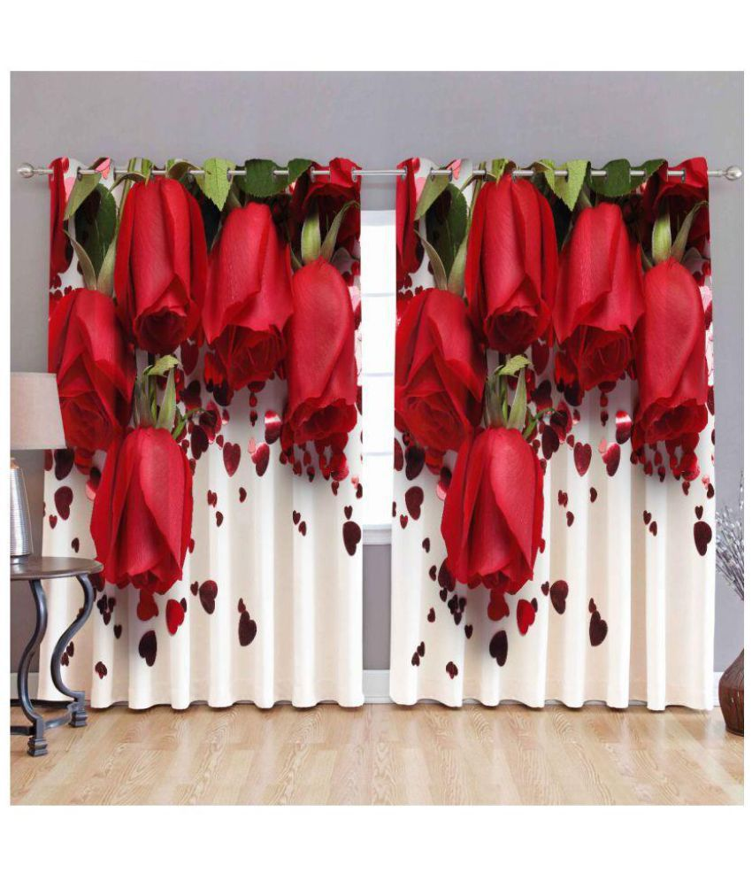 Tanishka Fabs Set of 2 Door Semi-Transparent Eyelet Polyester Curtains Multi Color