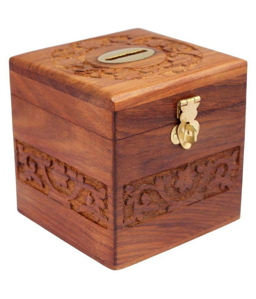 Woodykart Wooden Cube Coin/Money/Piggy Bank Saving Box - (Gift for Kids |  Boys/Girls | Made with Rosewood | Wooden Carving and Brass Inlay Work)