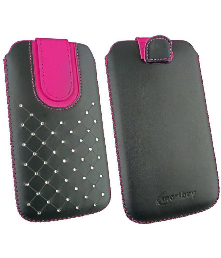 Huawei Y6 Pro 2017 Flip Cover by Emartbuy - Multi (Magnetic Pouch - 3XL) Black/Hot Pink Gem Studded