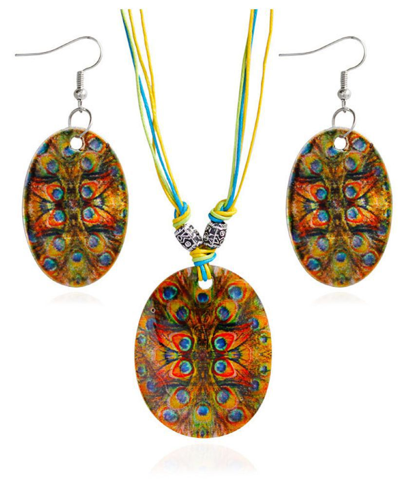 Levaso Fashion Earrings Ear Studs Resin Necklace Pendant Jewelry Set Multi Color