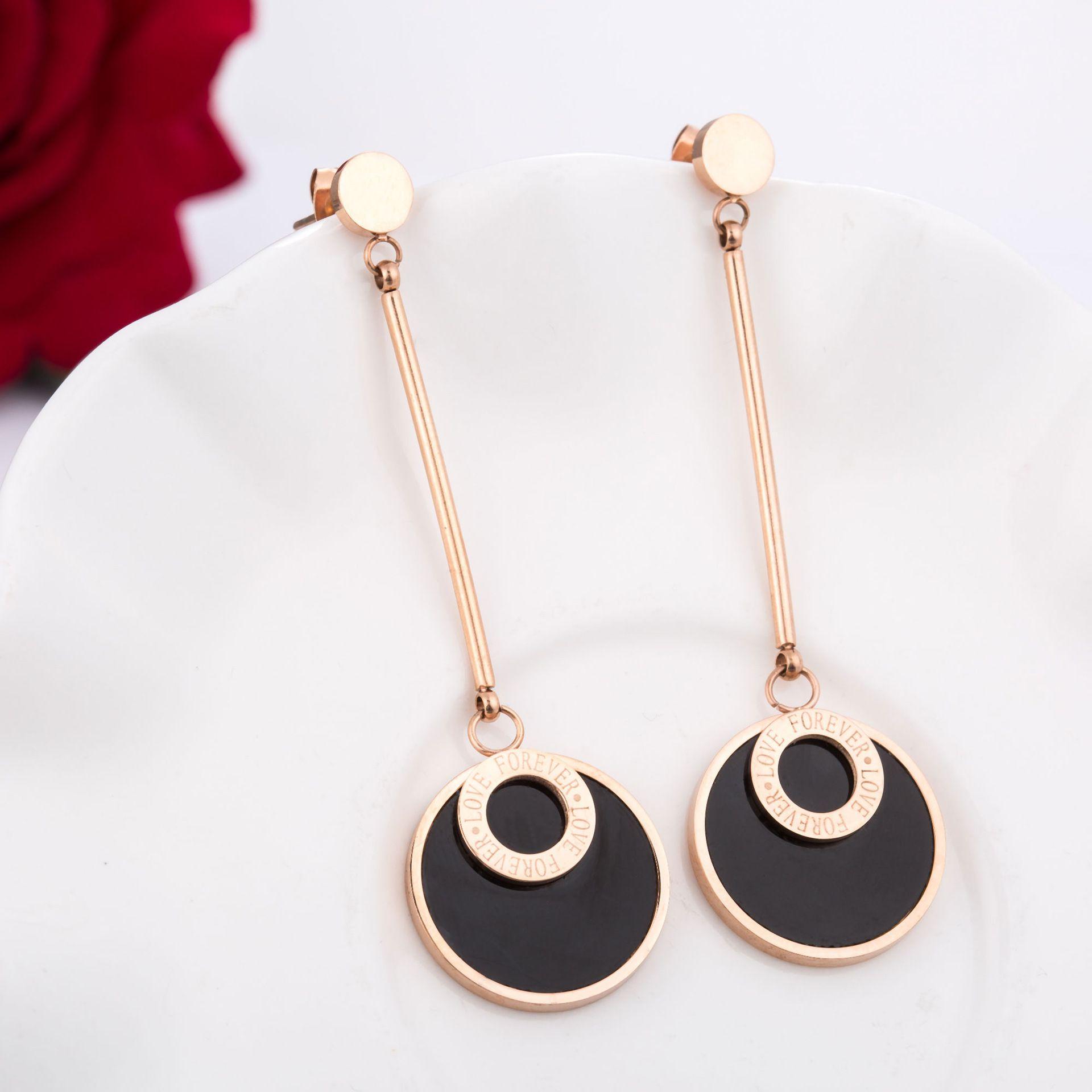 Levaso Fashion Earrings Ear Studs Titanium Steel Jewelry Rose Gold