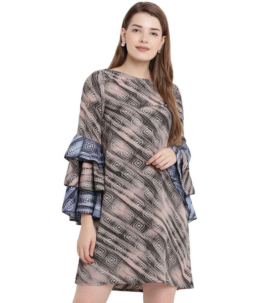 Abiti Bella Crepe Grey A- line Dress