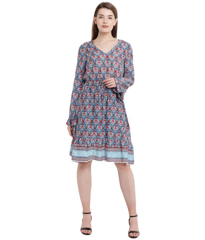 Abiti Bella Rayon Green Regular Dress