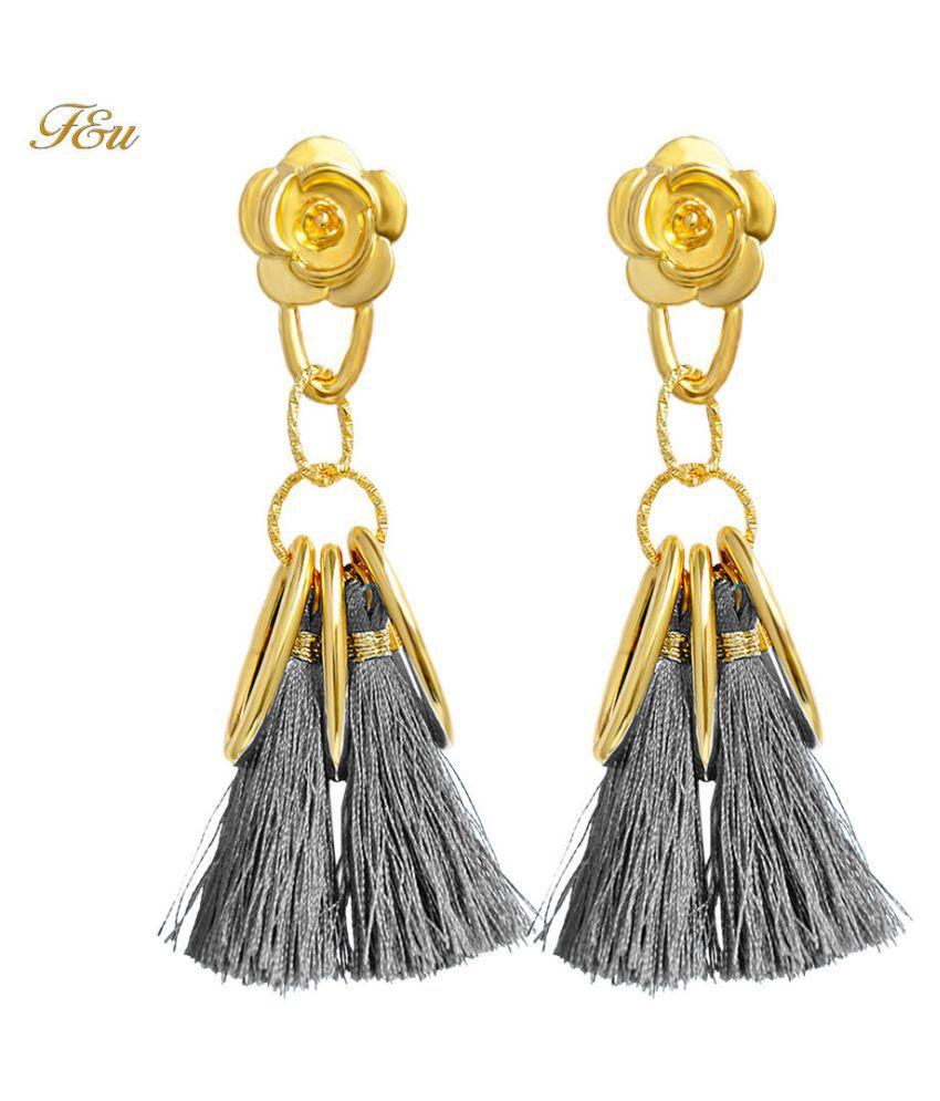 Levaso Fashion Earrings Ear Studs Alloy Tassels Jewelry Gray