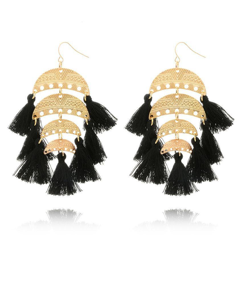Levaso Fashion Earrings Ear Studs Alloy Bohemia Tassels Jewelry Black