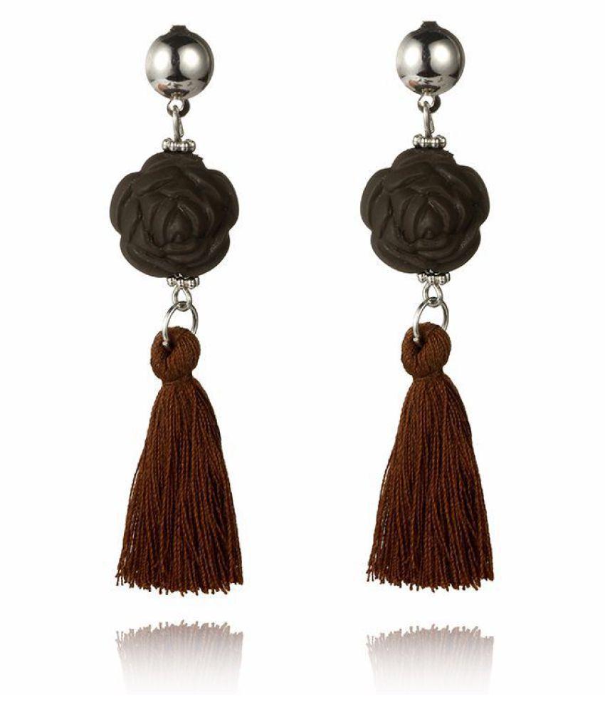 Levaso Fashion Earrings Ear Studs Polymer Clay Tassels Jewelry Brown