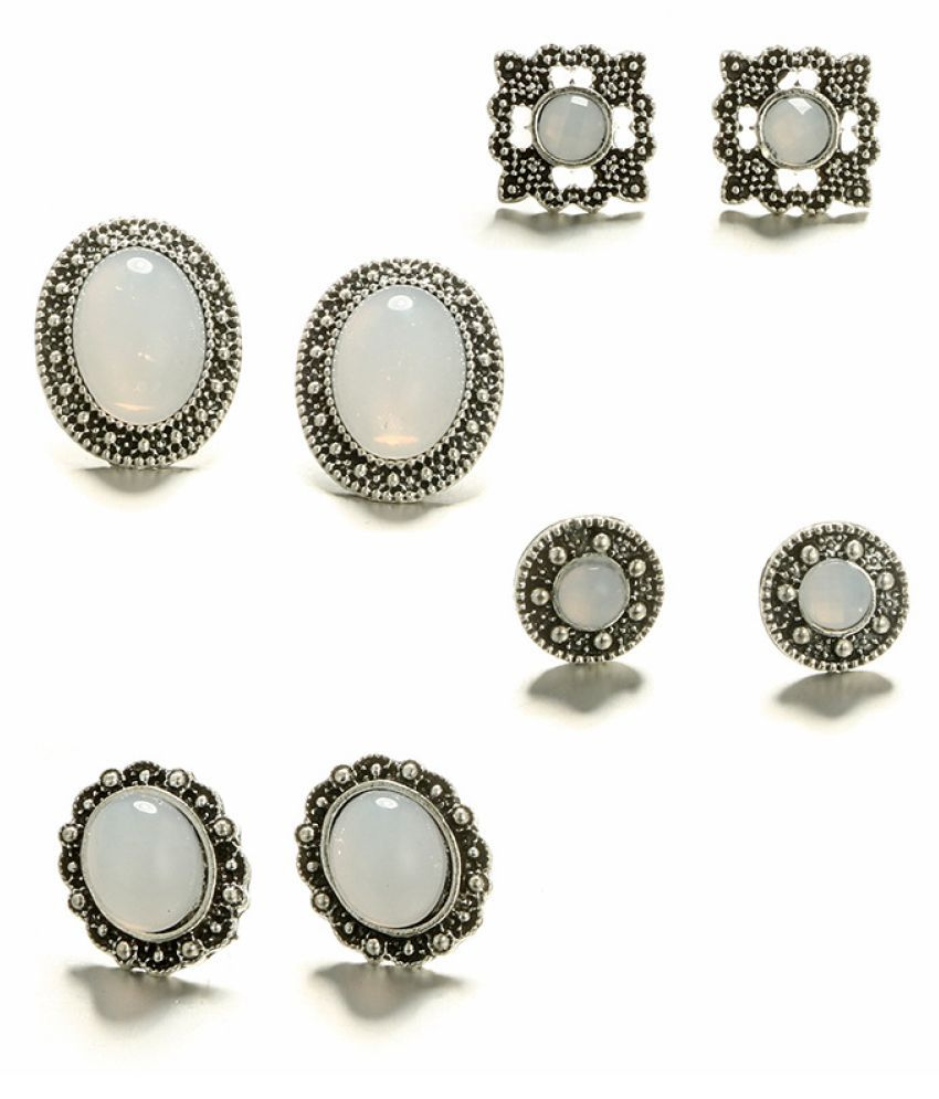 Levaso Fashion Earrings Ear Studs Alloy Bohemia Crystal Jewelry Silver