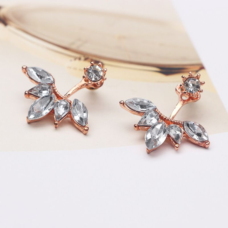 Levaso Fashion Earrings Ear Studs Alloy Crystal Jewelry Rose Gold