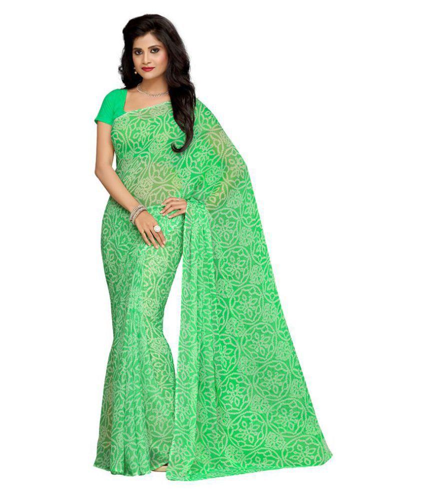 Rani Saahiba Green Chiffon Saree