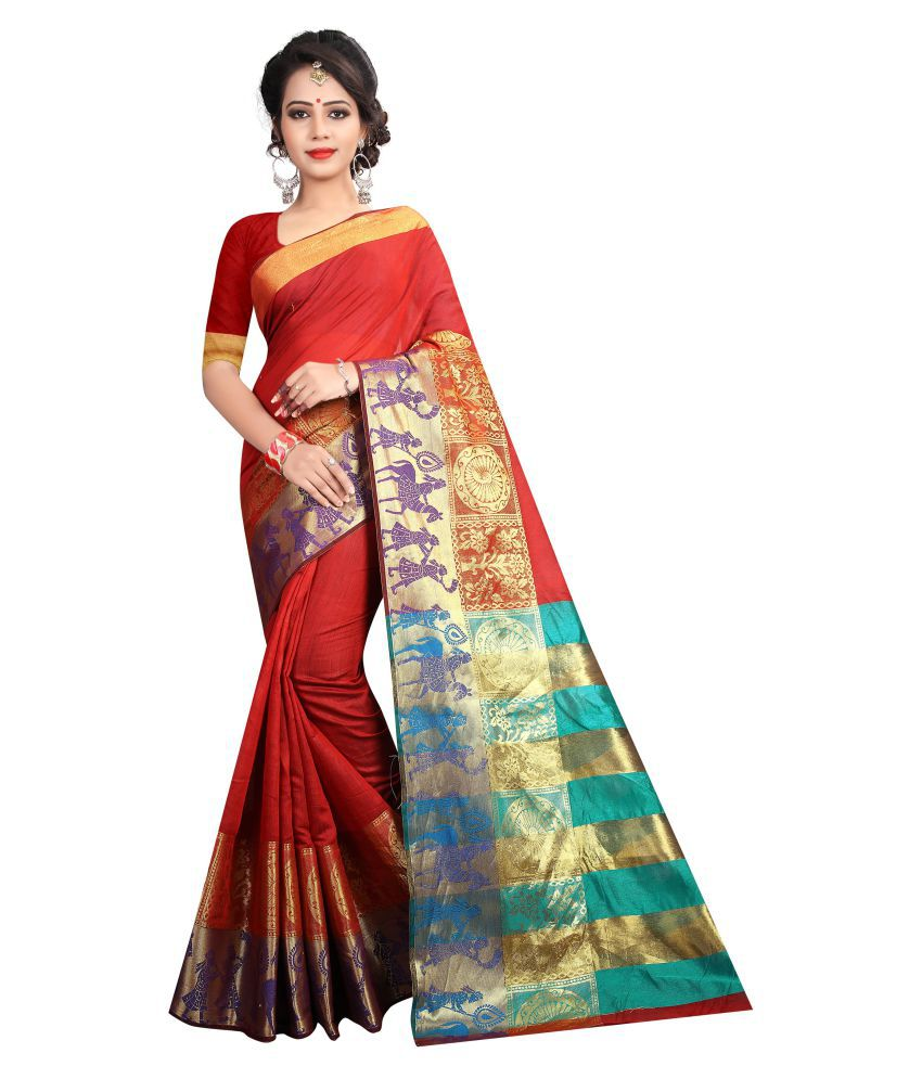 Dealsure Multicoloured Cotton Silk Saree