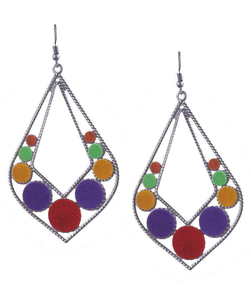 Zephyrr Earrings Filigree Work Dangle & Drop Multicolor Felt Fabric Leaf Shaped