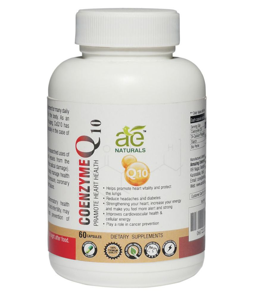AE Naturals Pure Coenzyme Q10 Capsules To Promote Heart Health 60 no.s Capsule