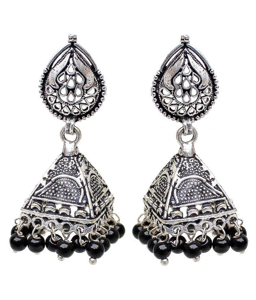 Lucky Jewellery Oxidized Stylish Black Metal Silver Oxidised Jhumki Earring For Women