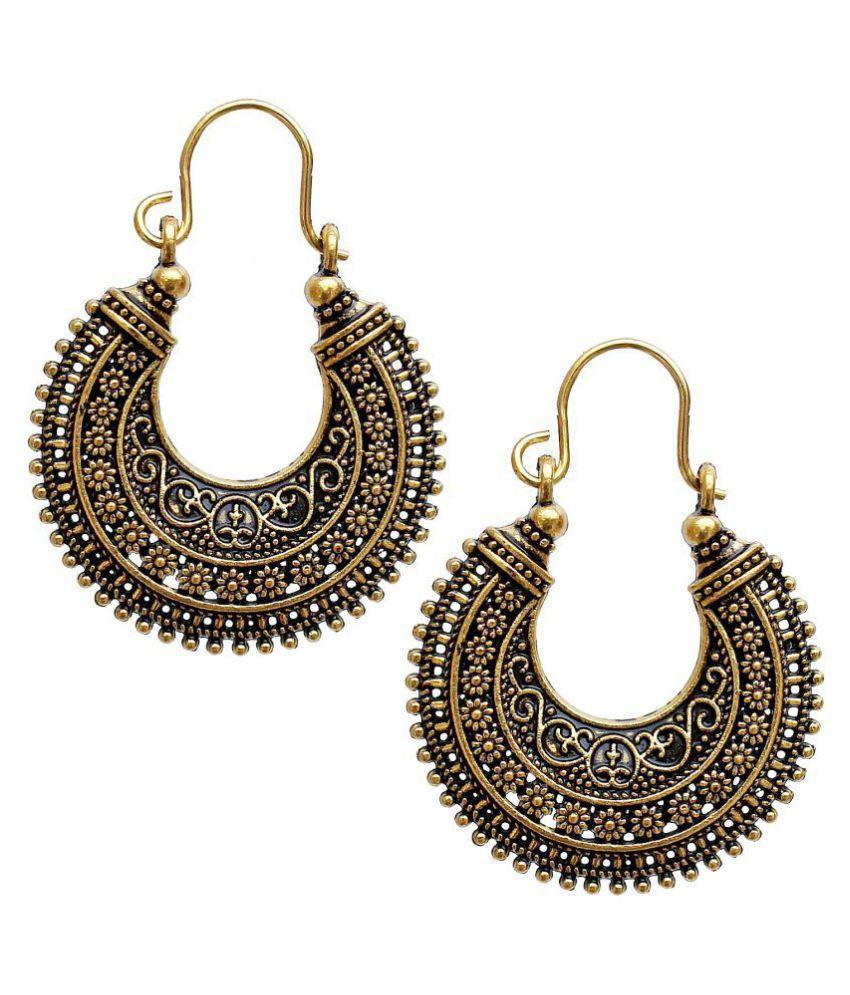 Lucky Jewellery Trendy Golden Oxidised Plating Earring For Girls & Women