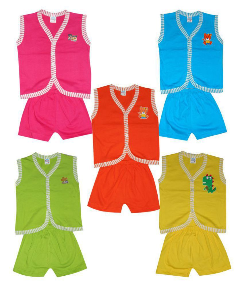 Awesome Kidz Pack of 5 5 Vest Tshirt + 5 Shorts Top and Bottom Set for Infants