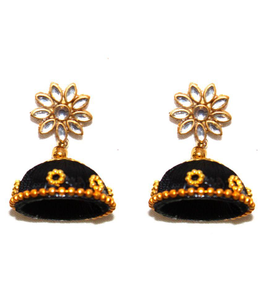 Designer black silk jhumki earrings by AMMAJI FASHION