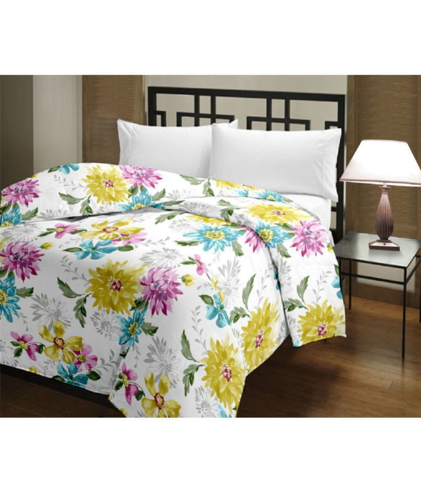 GINI HOME Single Poly Cotton Multi Floral Dohar